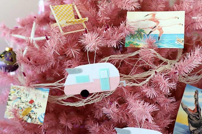 Vintage travel trailers on Christmas tree