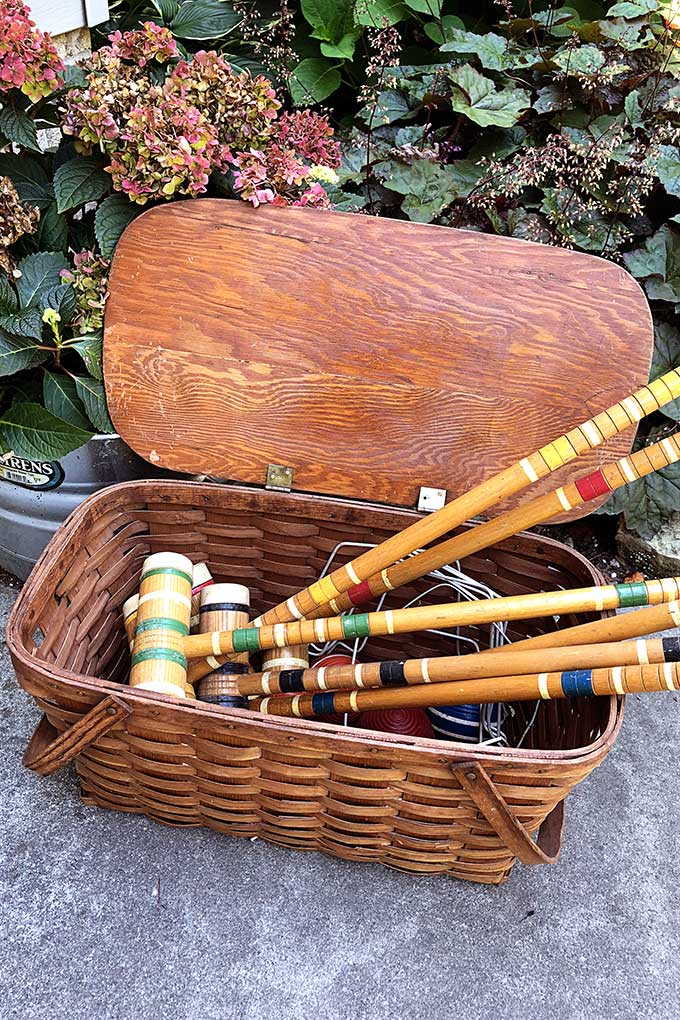 Vintage croquet game set