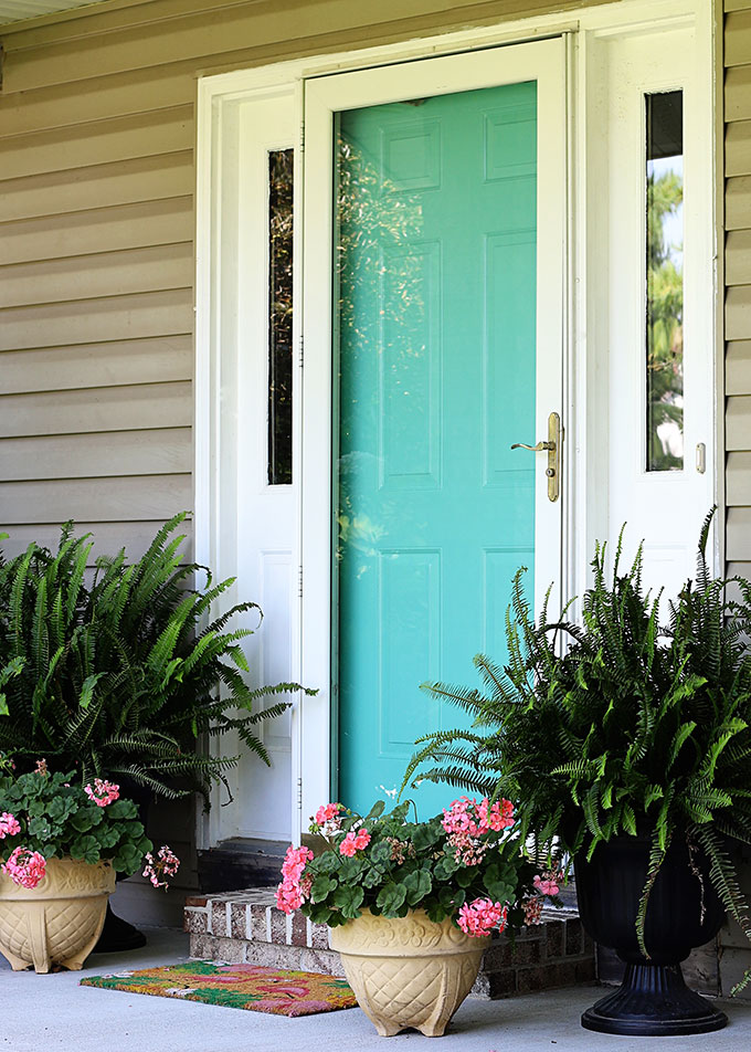 Front door painted Glidden Capri Teal