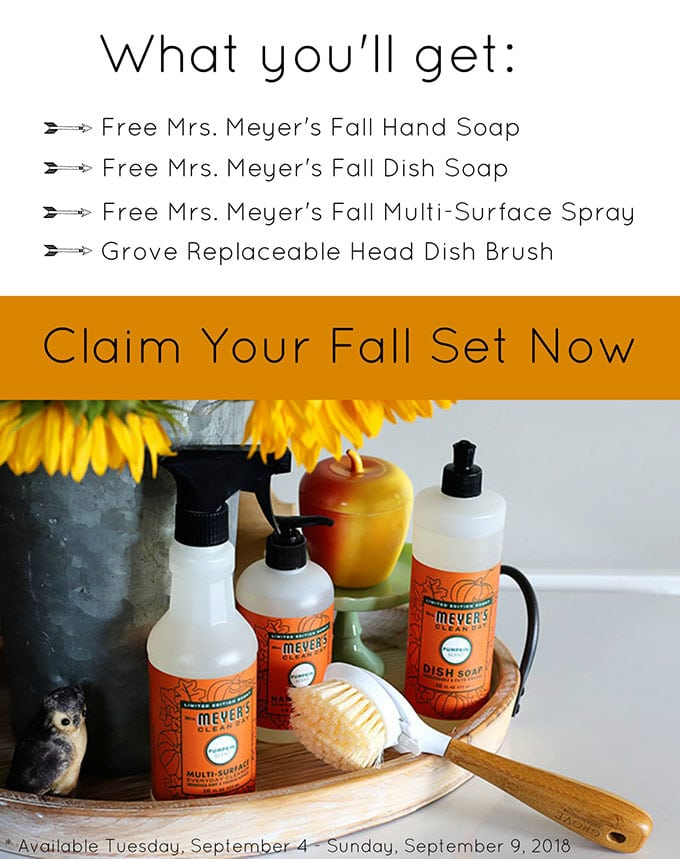 FREE fall scented Mrs Meyer's cleaning supplies.