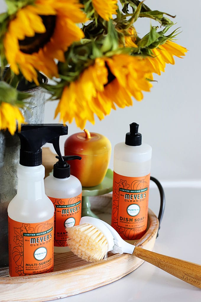 Mrs. Meyer's fall scents including Mrs Meyer's hand soap, dish soap and multi-surface spray