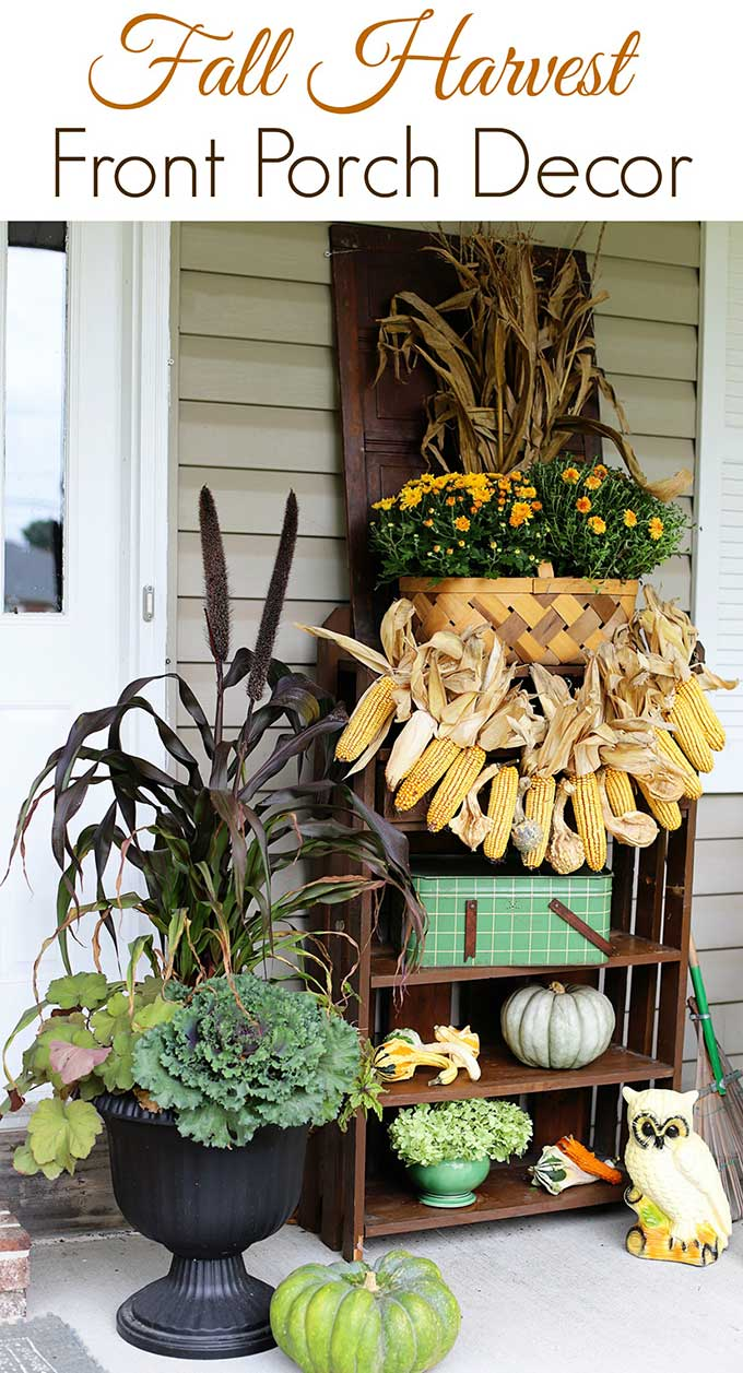 Simple fall porch decorating ideas using items from around your yard and house. Fall porch decor doesn't have to be expensive to look good!