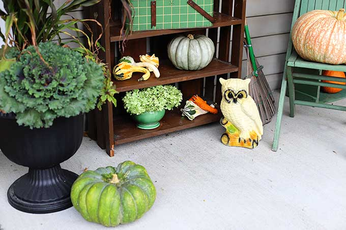 Using thrift store decor on your porch for fall.