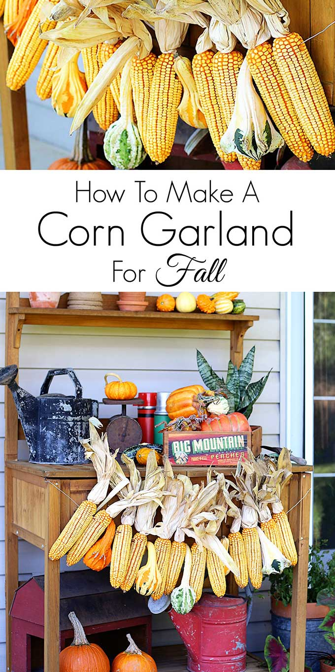 Learn how to make this harvest themed corn garland for fall decor. Great for both inside and outside fall decorations!