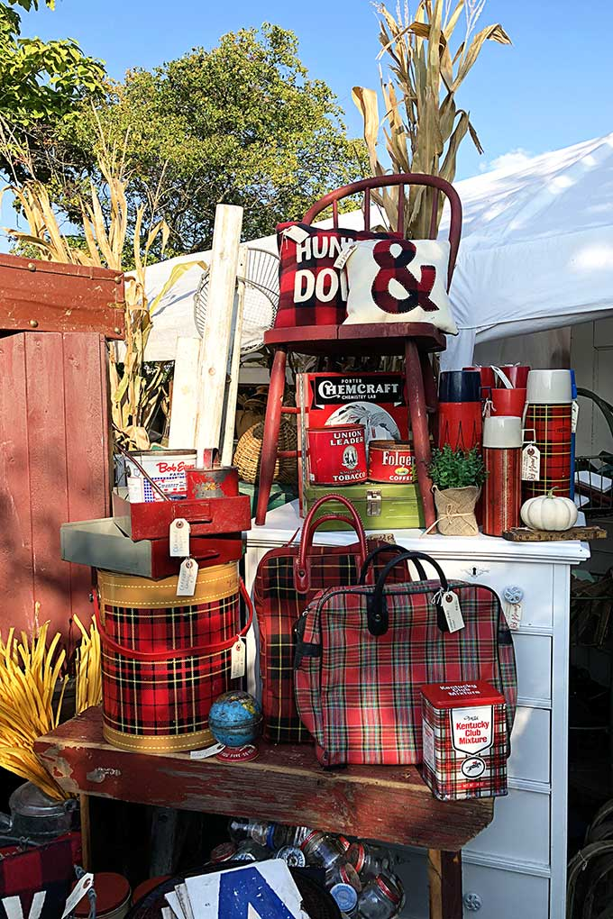 Plaid thermos display at The Country Living Fair