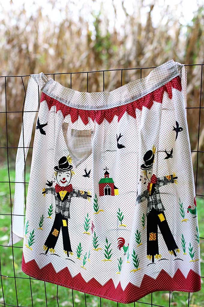 Vintage fall harvest scarecrow apron
