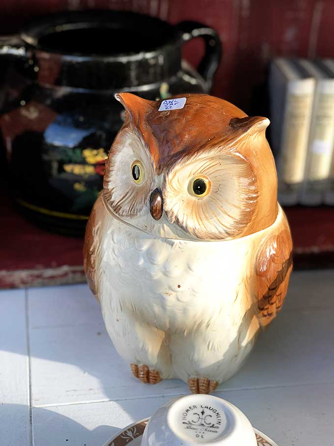 Vintage ceramic owl cookie jar
