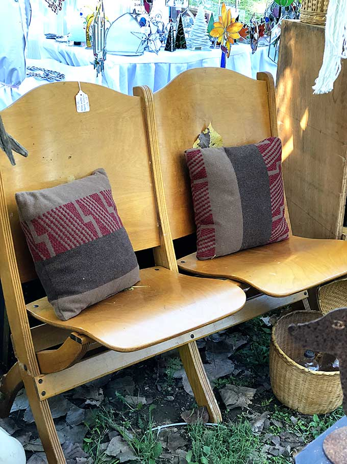 Vintage wooden folding theater seats
