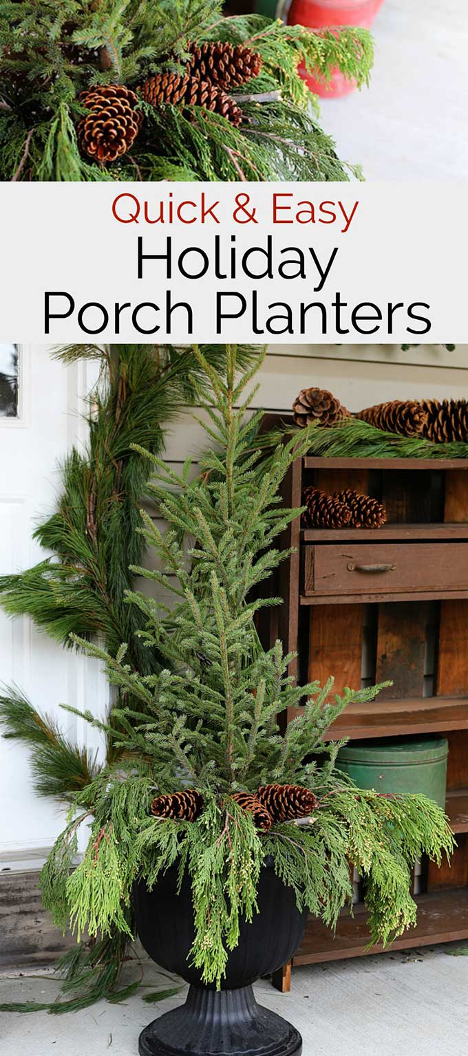 How to make holiday front porch planters the EASY way. Beautiful and classic yet so easy even a beginner DIYer can make these in no time at all. #porchdecor #christmas #christmasporch #winterdecor