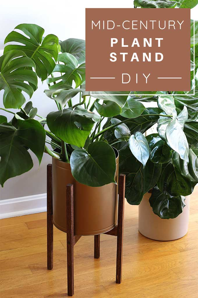 Learn how to make a mid century plant stand for the minimalistic look that you love at a fraction of the cost of buying one. A quick and easy DIY project that is similar to the wooden West Elm mid century planter stand. #midcentury #midcenturymodern #diy #diywoodprojects #diyhomedecor #woodworkingprojects #woodworkingbeginner #upcycle #repurpose