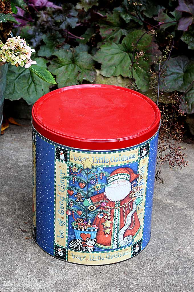 Popcorn tin upcycle project