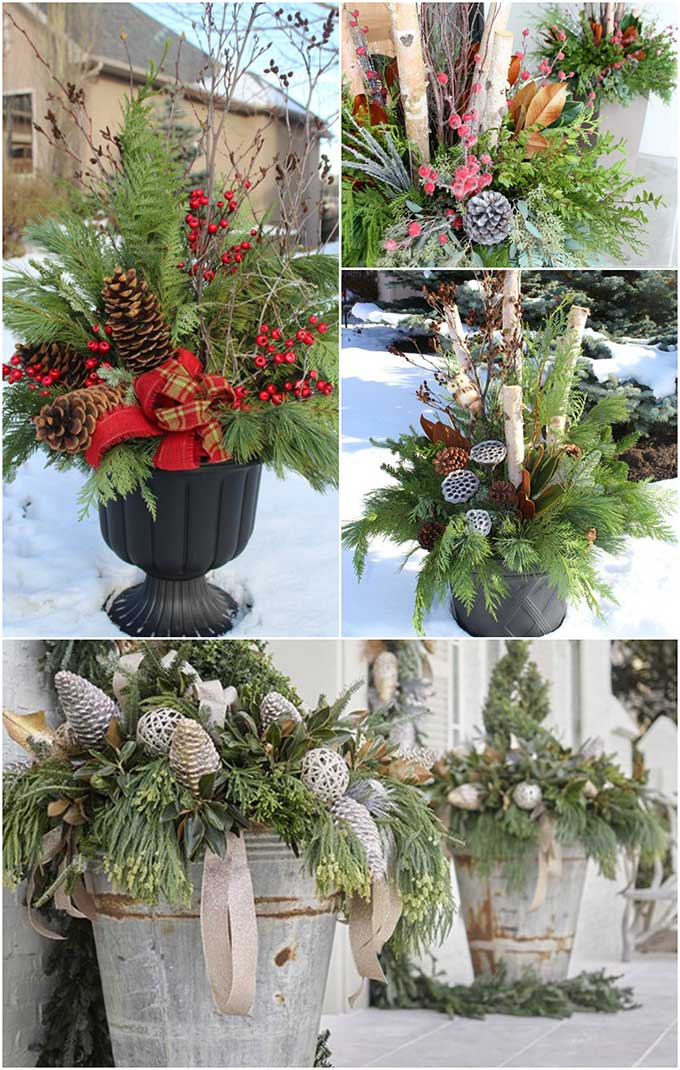 Beautiful winter planter ideas for your outdoor Christmas decorations. These versatile winter planters can decorate your porch November through February.