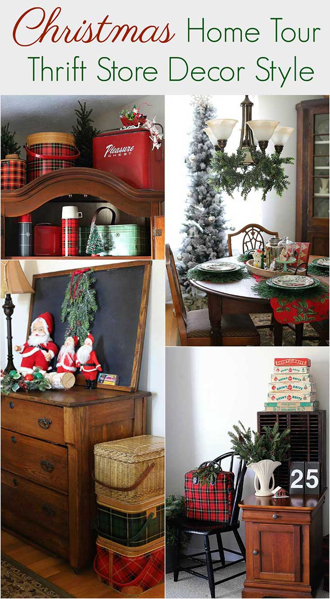 Tons of vintage Christmas inspiration using thrift store decor and vintage Christmas decorations!