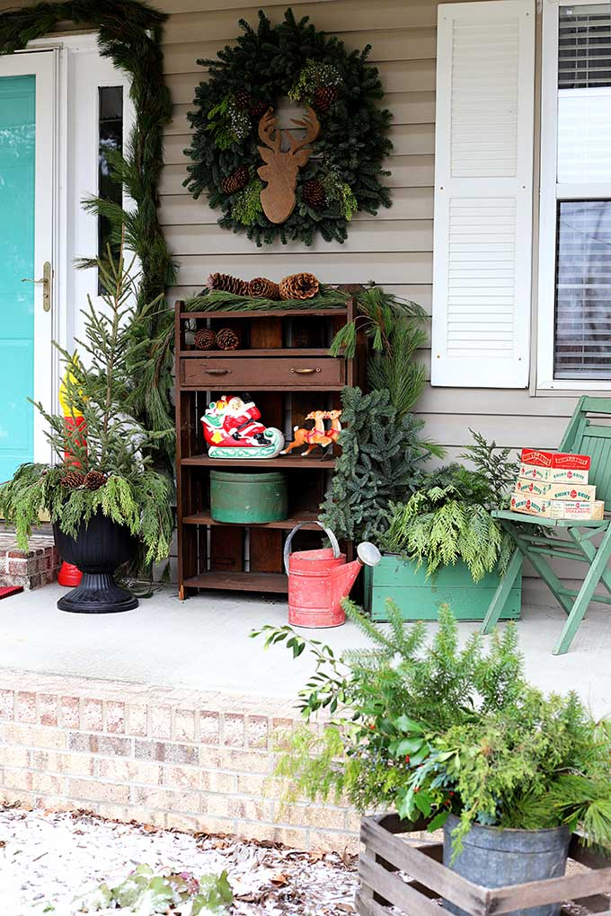 Festive outdoor front porch decorations for Christmas