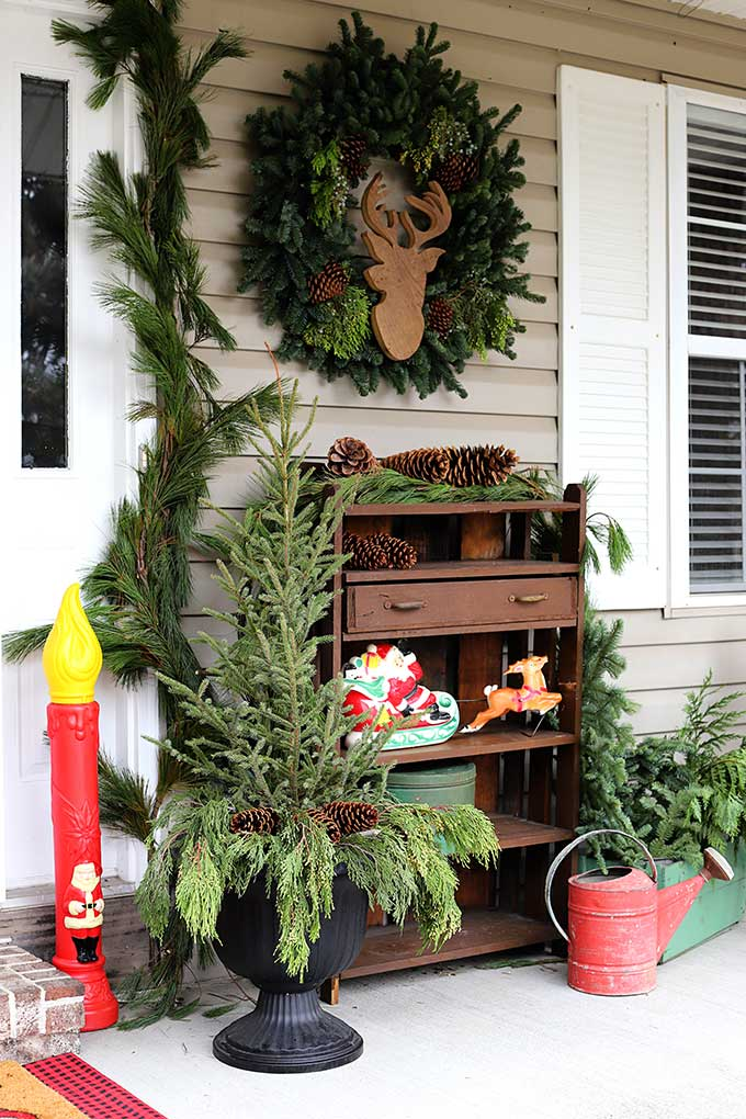 adding retro christmas decor to your holiday porch