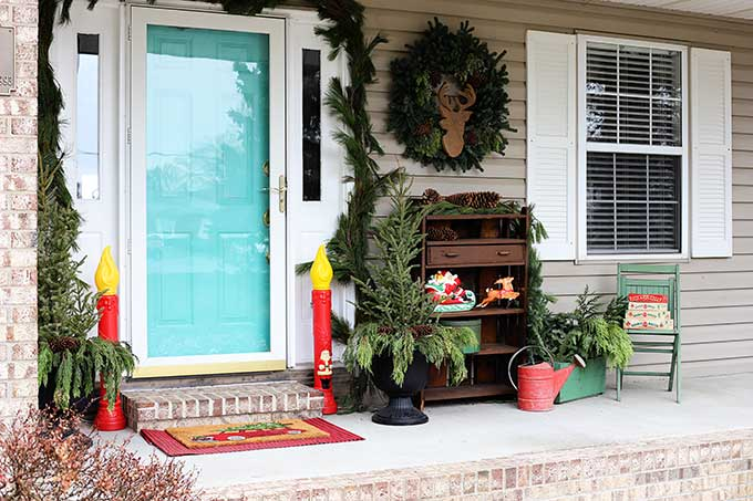 Festive Christmas porch decor