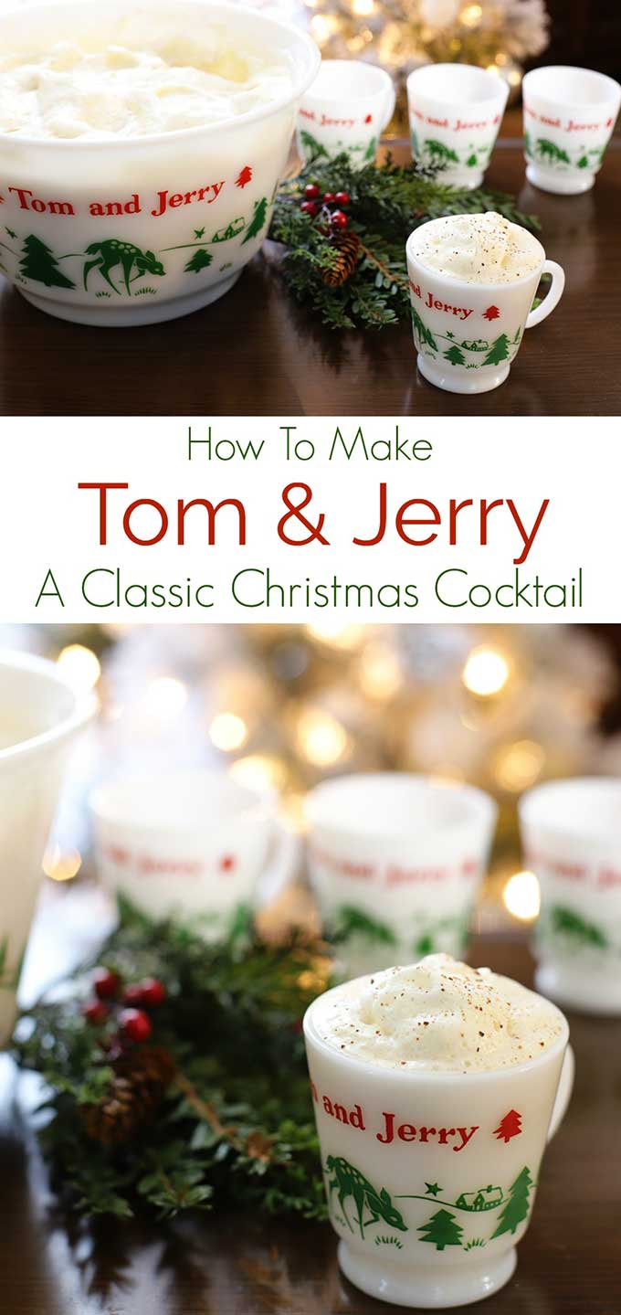 Learn how to make a Tom And Jerry drink, a classic holiday cocktail. Recipe for the traditional Tom And Jerry batter and instructions for mixing this festive holiday drink included. #christmascocktails #christmascocktailsrecipes #cocktailrecipes #christmas #recipes #drinks #drinkrecipes #tomandjerry #rum