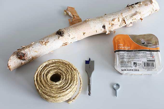 Supplies for DIY suet log bird feeder