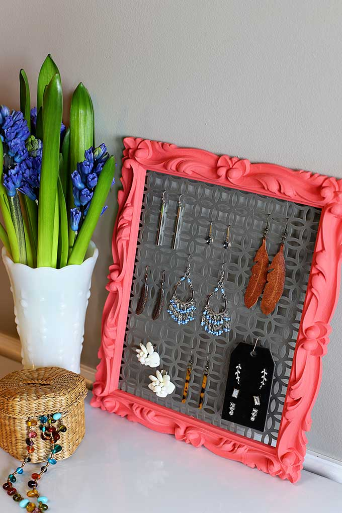 DIY earring holder from thrift store frame