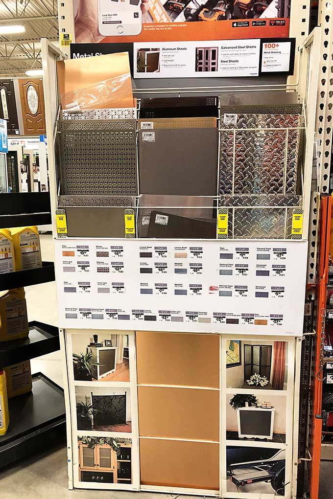 Decorative aluminum sheets at Home Depot