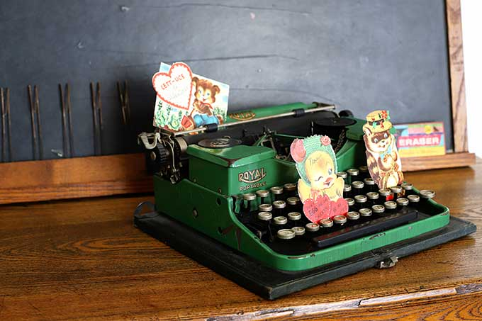 Vintage valentines tucked in a vintage Royal typewriter