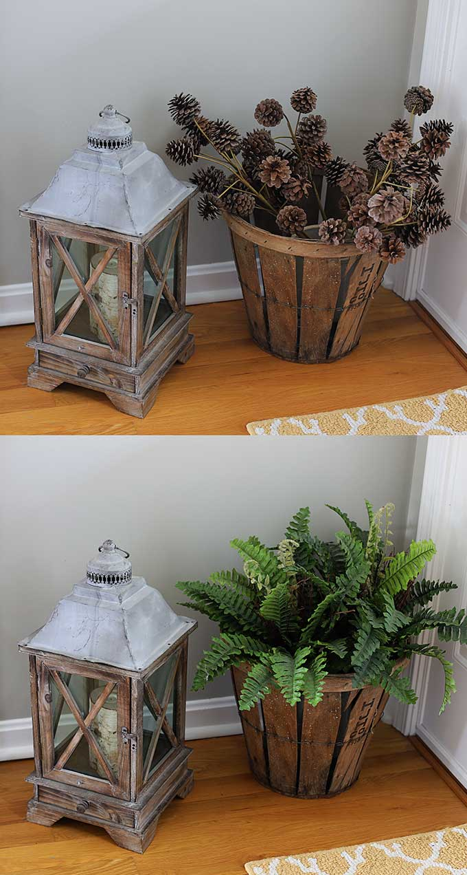 Switching out pinecones for ferns in spring home decor