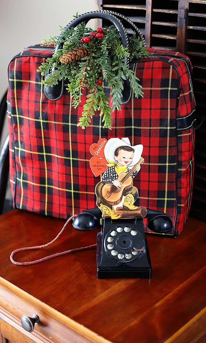 Vintage cowboy valentine displayed in a toy phone