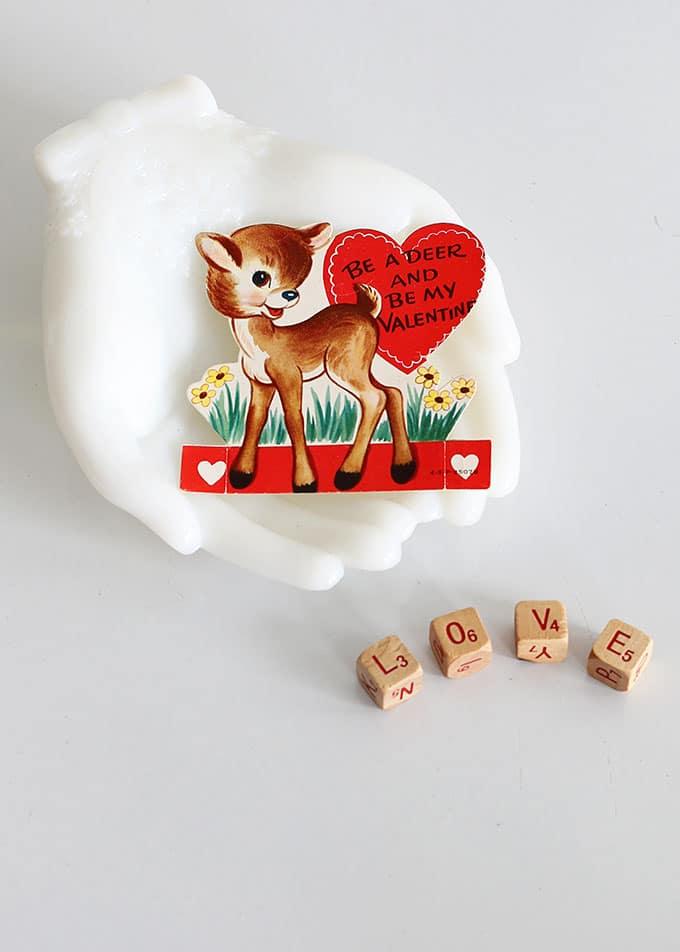 Vintage classroom valentine displayed in an Avon hand