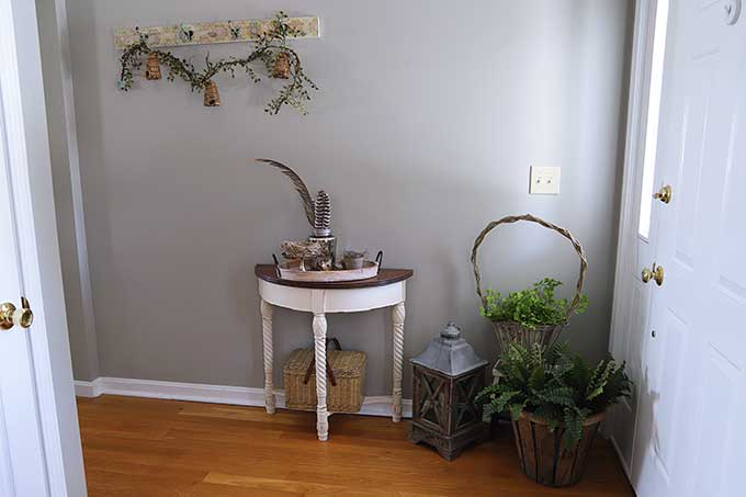 Entryway decorated for spring