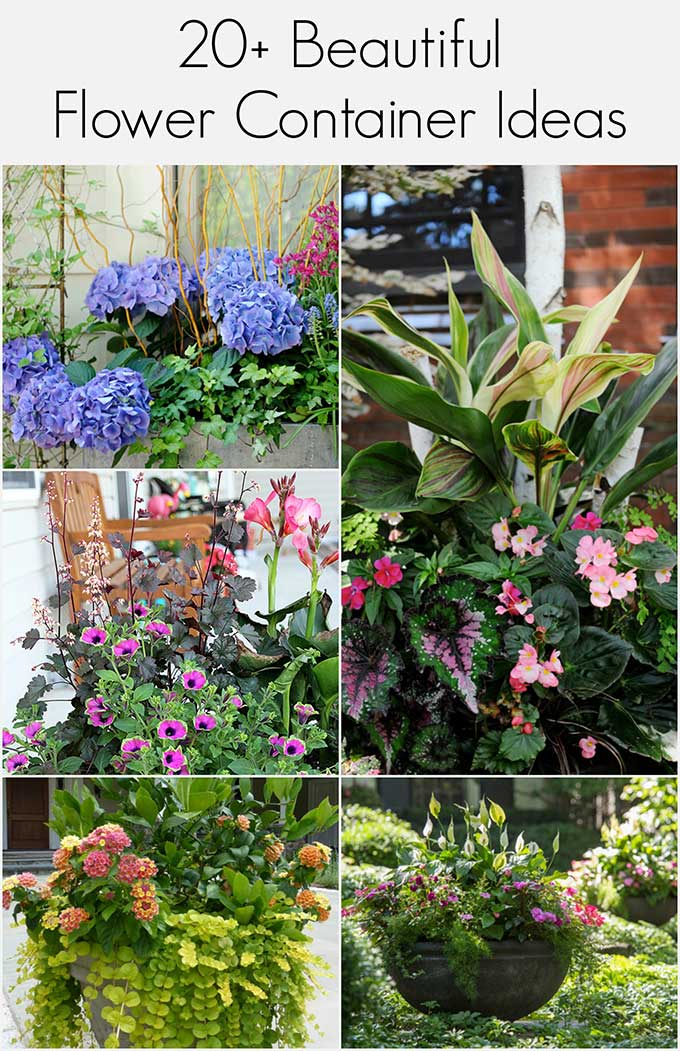 A collection of beautiful and colorful flower container ideas for your porch and patio! Lots of unique and unexpected summer porch planter ideas.