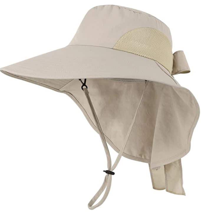 hat with neck flaps to be used in the sun while gardening