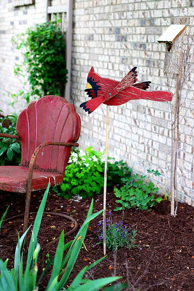 Vintage cardinal whirligig