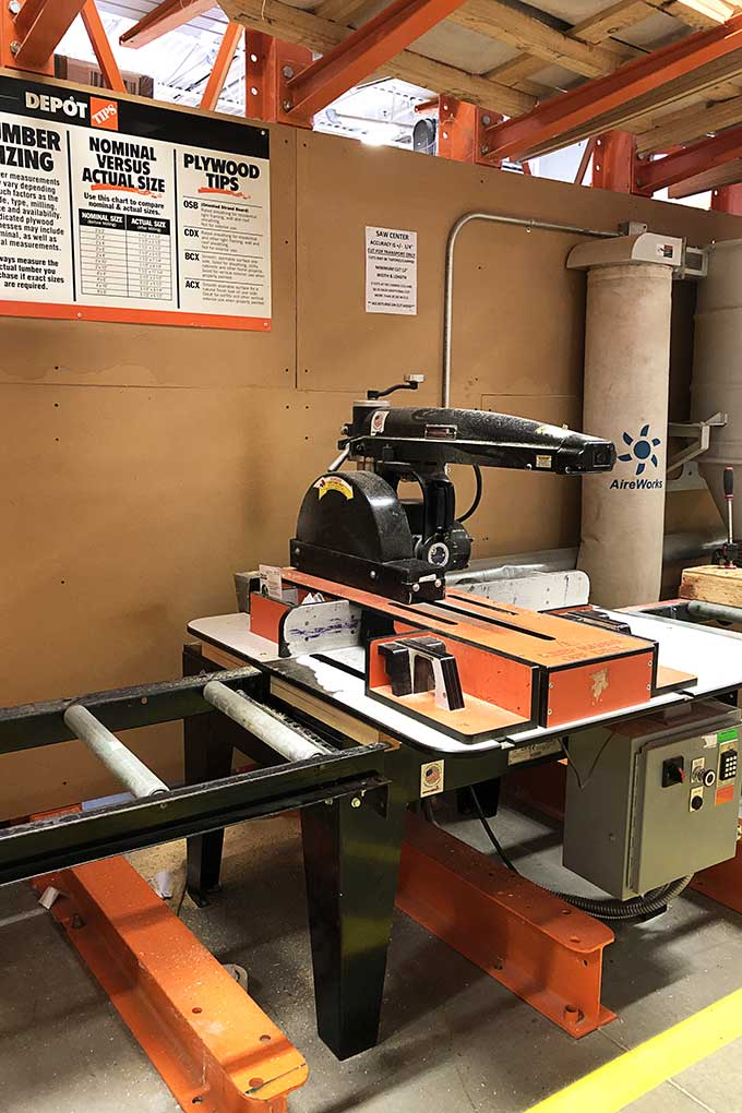 Home Depot wood cutting station