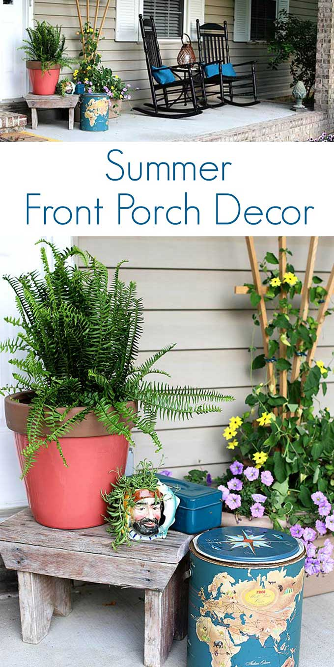 Boho styled summer front porch decor using thrift store finds