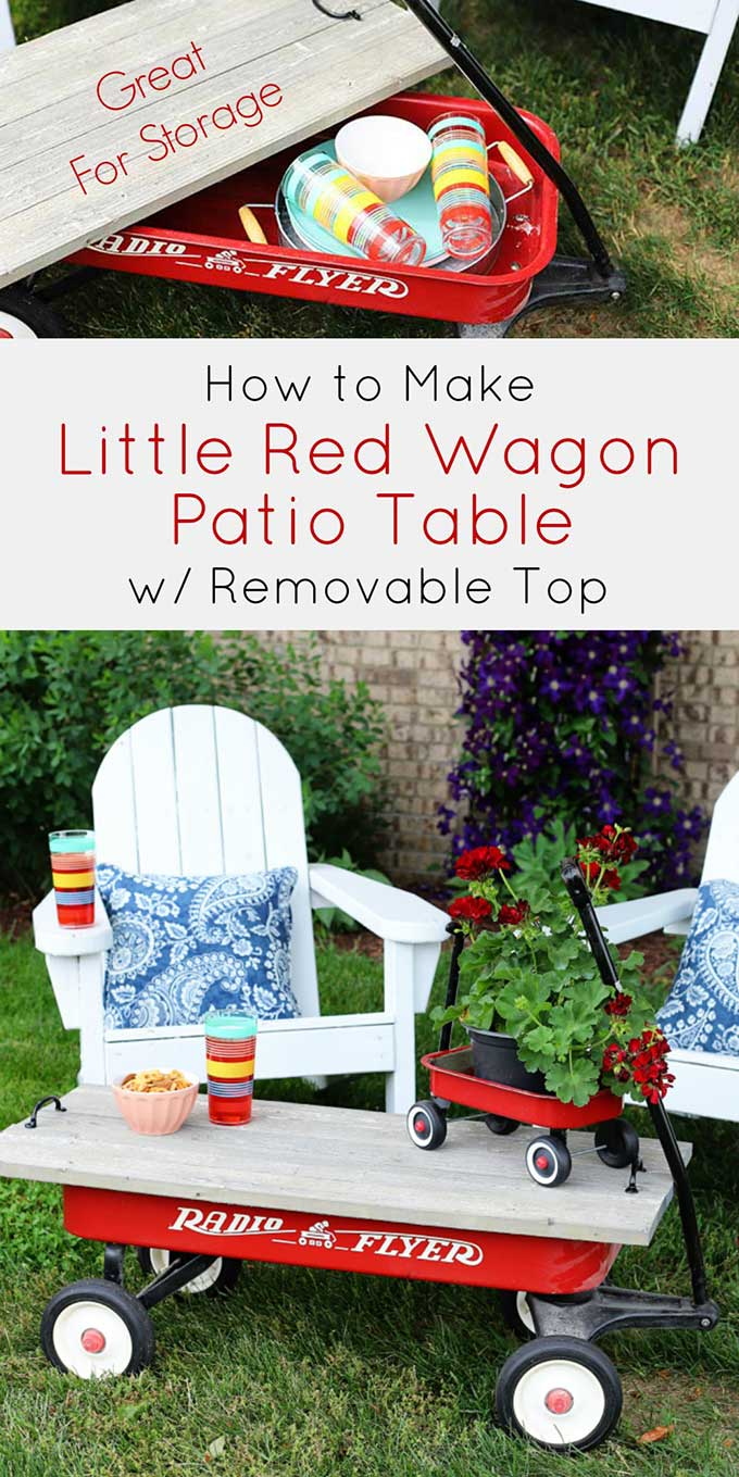 Tutorial for repurposing a little red wagon into an outdoor coffee table for summer.