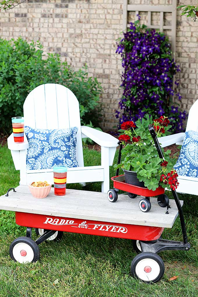 Repurposing a little red wagon into a outdoor coffee table