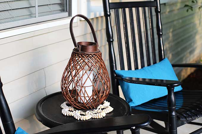Wicker lantern for porch decor