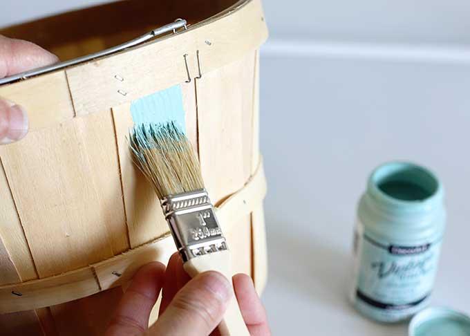 Painting bushel basket
