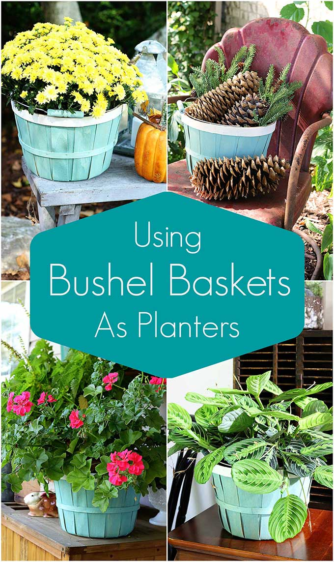 Quick and easy bushel basket planter DIY project and how to style them for the seasons.
