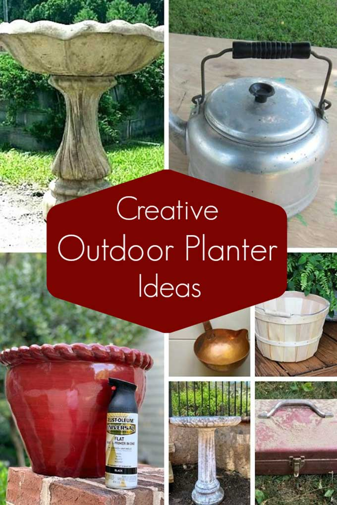 Quick and easy outdoor planter ideas from repurposed thrift store items.