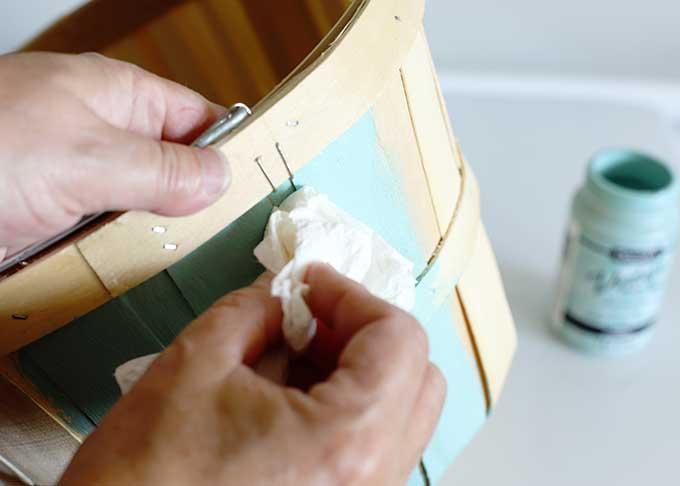 Using Vintage Effect Wash on wooden bushel basket.