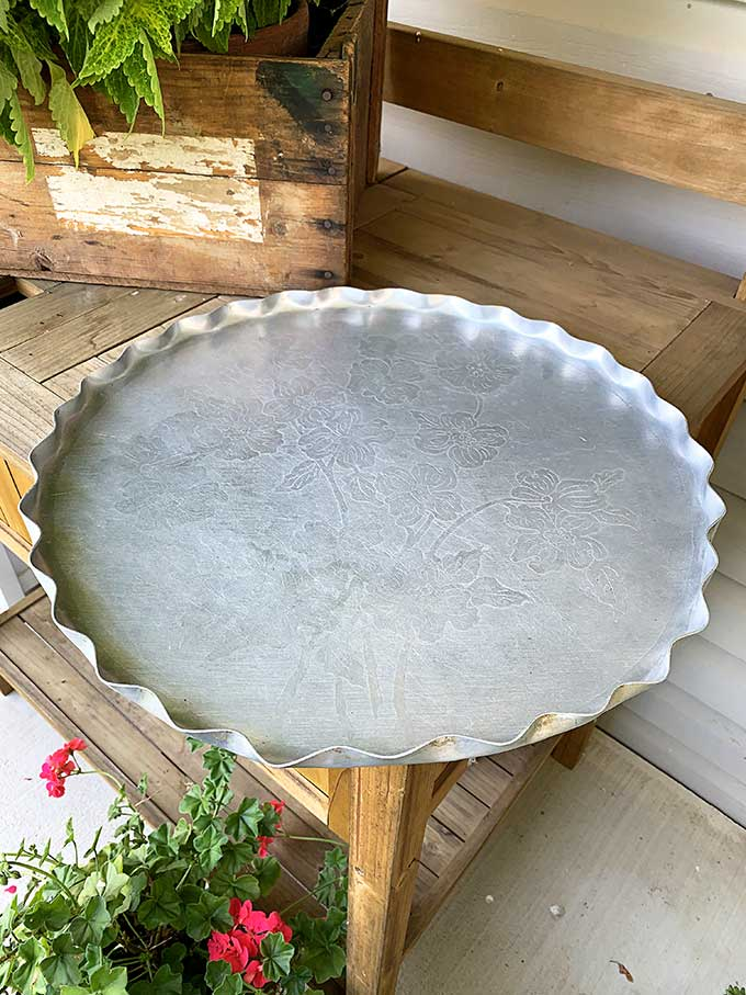 repurposed serving tray pumpkin - a thrift store makeover