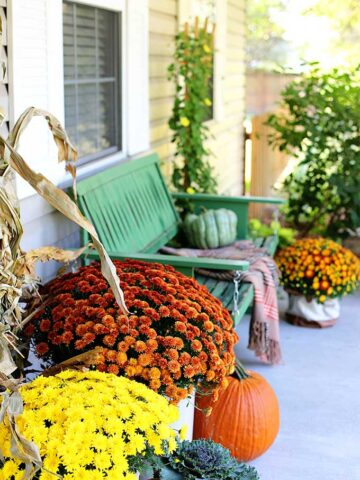 rustic and natural fall porch decor