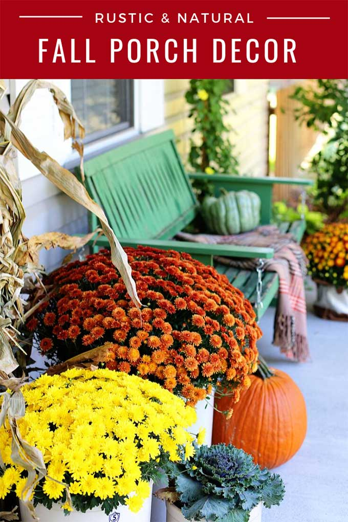 Natural fall porch decor
