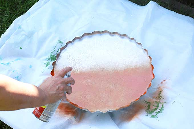 spray painting serving tray