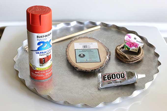 supplies for repurposing serving tray into fall pumpkin