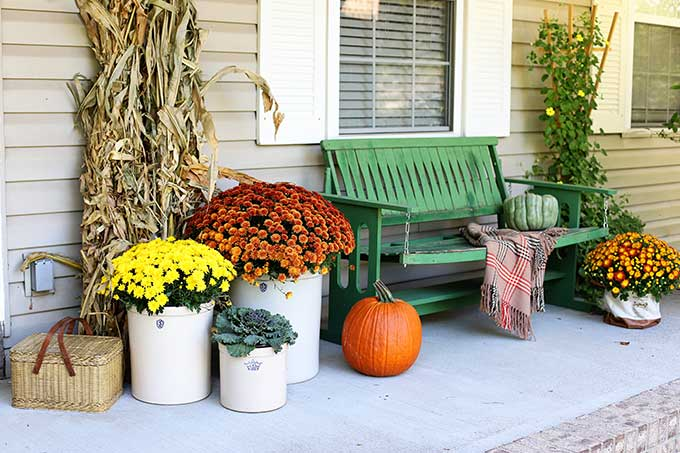 vintage fall porch decor