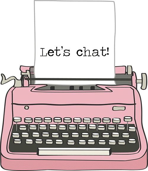 drawing of pink vintage typewriter with the words Let's Chat typed on the paper