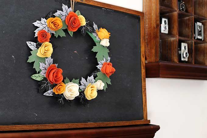 Felt flower wreath for fall