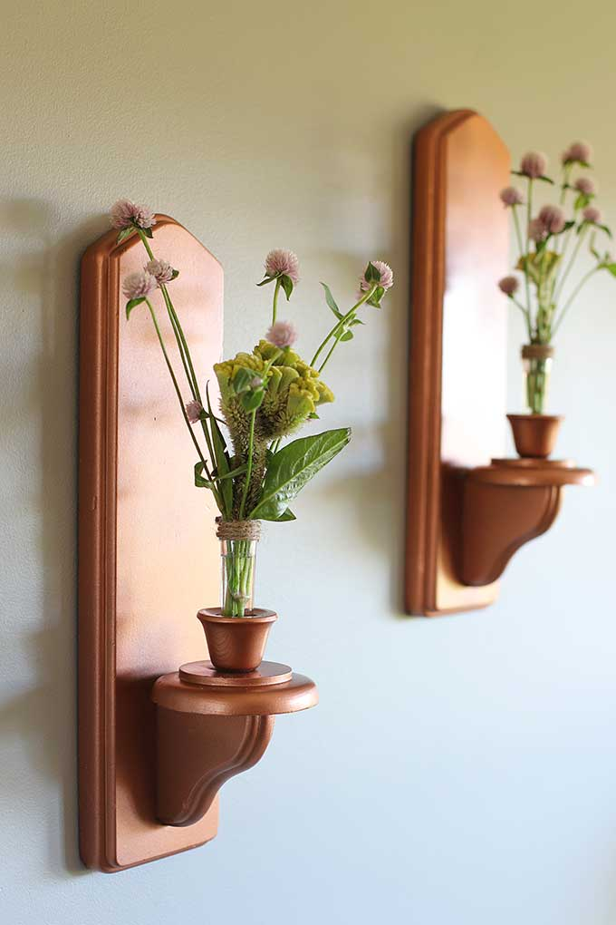 DIY copper wall sconces - a thrift store upcycle project